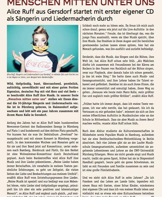 Schöner Artikel im heimatlichen Gemeindeblatt Leinburg!